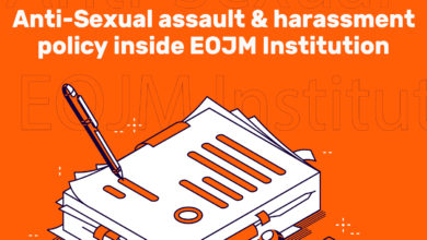 Photo of Anti-Sexual assault and harassment policy inside EOJM Institution